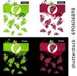 set template of grapes fruit | Shutterstock .eps vector #690606898