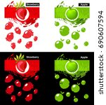 set label icon of strawberry... | Shutterstock .eps vector #690607594