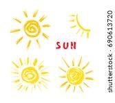 sun paint brush strokes vector... | Shutterstock .eps vector #690613720