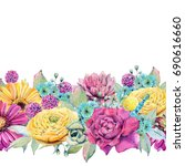 watercolor fiesta flowers.... | Shutterstock . vector #690616660