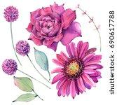 watercolor flowers set in... | Shutterstock . vector #690617788
