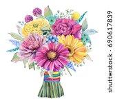 watercolor fiesta wedding... | Shutterstock . vector #690617839