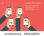 mobile applications concept.... | Shutterstock .eps vector #690618850