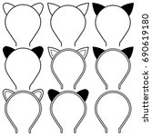 set icons cat ears headband for ... | Shutterstock .eps vector #690619180