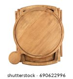 pile of wooden boards on white... | Shutterstock . vector #690622996