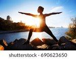 sportive woman practicing... | Shutterstock . vector #690623650