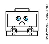 line kawaii cute crying... | Shutterstock .eps vector #690634780