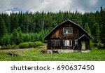 forest mountain house | Shutterstock . vector #690637450