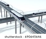 concept of magnetic levitation...   Shutterstock . vector #690645646