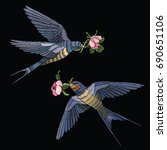 swallow embroidery. side view.... | Shutterstock .eps vector #690651106