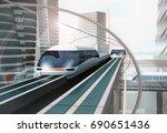 concept of magnetic levitation... | Shutterstock . vector #690651436