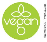 vegan vector logo icon design... | Shutterstock .eps vector #690666280