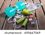 2018 fitness concept   dumbbell ... | Shutterstock . vector #690667069