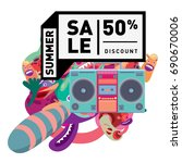 summer sale colorful style... | Shutterstock .eps vector #690670006