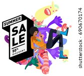 summer sale colorful style... | Shutterstock .eps vector #690670174