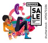 summer sale colorful style... | Shutterstock .eps vector #690670186