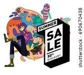 summer sale colorful style... | Shutterstock .eps vector #690670438