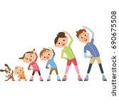 family prepared gymnastics | Shutterstock .eps vector #690675508