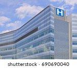 modern hospital style building  | Shutterstock . vector #690690040