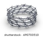 barbed wire wreath on a white... | Shutterstock . vector #690703510