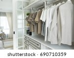 closet with cloth and shelf at... | Shutterstock . vector #690710359