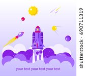 flat banner on space theme on... | Shutterstock .eps vector #690711319