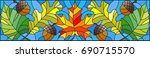 illustration in stained glass... | Shutterstock .eps vector #690715570
