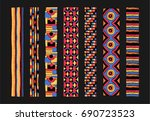 set of ethnic art brushes in... | Shutterstock .eps vector #690723523