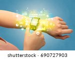 hand with smartwatch and health ... | Shutterstock . vector #690727903
