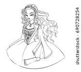 Cute Cartoon Girl In Rococo...