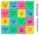 colorful smile cute emoticon... | Shutterstock .eps vector #690729238