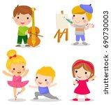 group of children set play the... | Shutterstock .eps vector #690730003