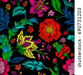 seamless pattern with fantasy... | Shutterstock .eps vector #690731203
