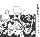 illustration of peaceful crowd... | Shutterstock .eps vector #690733270