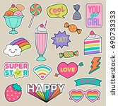 set of girl fashion patches ... | Shutterstock .eps vector #690733333