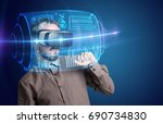 amazed businessman with high... | Shutterstock . vector #690734830