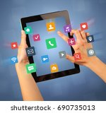 female fingers touching tablet... | Shutterstock . vector #690735013