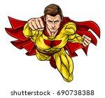 super hero in a cartoon pop art ...   Shutterstock . vector #690738388