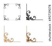baroque vector set of vintage... | Shutterstock .eps vector #690739078