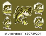 large mouth bass jumping with... | Shutterstock .eps vector #690739204