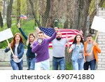 group of protesting young... | Shutterstock . vector #690741880