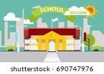 school building against the... | Shutterstock .eps vector #690747976