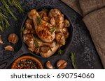 fried chicken legs with... | Shutterstock . vector #690754060