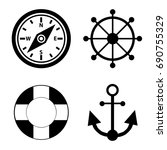 marine icons. vector. black... | Shutterstock .eps vector #690755329