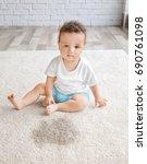little adorable girl sitting on ... | Shutterstock . vector #690761098