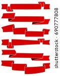 set of six red cartoon ribbons... | Shutterstock . vector #690777808