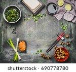 miso soup cooking ingredients... | Shutterstock . vector #690778780