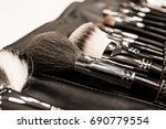 various makeup brush set close... | Shutterstock . vector #690779554
