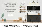 cafe and coffee shop interior... | Shutterstock .eps vector #690782893