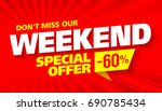 weekend sale banner. this... | Shutterstock .eps vector #690785434
